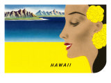Hawaiian Lady with Islands, Graphics Prints