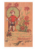 Poinsettias, Boy with Clock and Fruit Posters