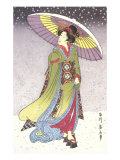 Geisha with Umbrella in Snow Posters