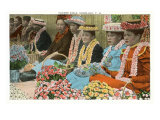 Lei Vendors, Hawaii Print