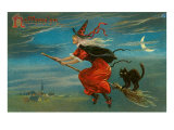 Halloween, Witch and Cat on Broom Poster