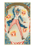 4th of July, Uncle Sam Throwing Firecracker Poster