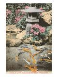 Japanese Lantern, Carp in Pond Prints
