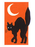 Black Cat and Moon Print
