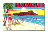 Waikiki Beach and Diamond Head, Hawaii Prints