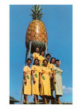 Hawaiian Women with Pineapple Tower Poster