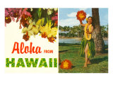 Aloha from Hawaii, Hula Girl and Flowers Poster