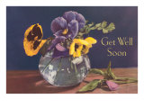Get Well Soon, Pansies in Vase Art