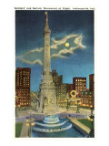 Moon over War Memorial, Indianapolis, Indiana Poster