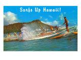 Viens surfer à Hawaï! Affiche