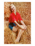 Blonde Sitting in Hay Poster