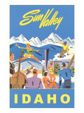 Sun Valley, Idaho, Graphic of Winter Resort Activities Giclee Print
