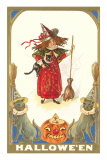 Halloween, Girl Witch with Cats Prints