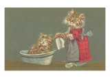 Dressed Kittens Bathing Poster