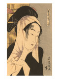 Japanese Woodblock, Woman with Scarf Posters