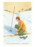 Sun Valley, Idaho, Lady Skier Fixing Bindings Giclee Print