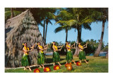 Hula Dancers, Grass Hut, Hawaii Posters