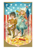 4th of July, Children with Bugle and Drum Posters
