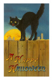 A Happy Halloween, Cat on Fence Prints