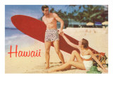 Hawaii, Tourists with Surfboard Prints