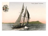 Yacht off Hawaii Prints