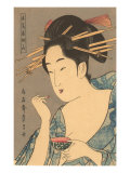 Japanese Woodblock, Lady Applying Lip Gloss Posters