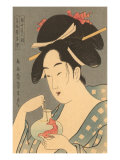 Japanese Woodblock, Lady with Fish Photo
