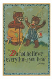 Baby Bear Telling Fish Tale Posters