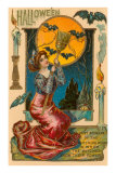 Halloween, Attractive Witch with Poem Print