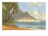 Hawaiian Beach with Cruise Ship Posters