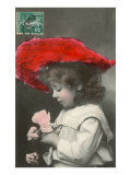 Girl with Red Hat and Rose Pósters