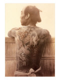 Yakuza with Tattooed Back Psters