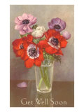 Get Well Soon, Poppies in Glass Poster