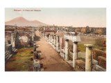 Forum in Pompeii, Vesuvius in Background Art
