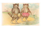 Come Along Little Girl, Cats at Beach Prints