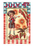 4th of July, Child with Pistols Prints