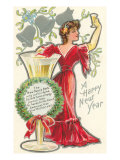 Happy New Year, Victorian Lady, Poem Prints
