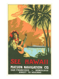 See Hawaii, Ocean Liner Advertisement Posters