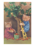 Dressed Kittens Picking Fruit Posters