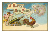 Happy New Year, Rooster and Champagne Bottle Prints