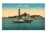 San Giorgio Island, Gondoliers, Venice, Italy Print