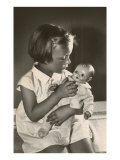 Girl with Baby Doll Print