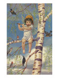 Boy Fairy Playing Flute in Birch Tree Print