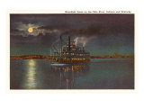 Moon on the Ohio River, Indiana Poster