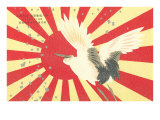 Old Japanese Flag with Crane Poster