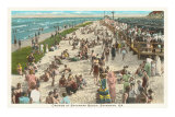 Beach Crowd, Savannah Beach, Georgia Print