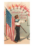 4th of July, Boy with Firecrackers Posters