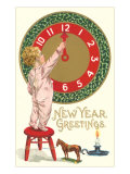 New Year Greetings, Victorian Boy with Clock Print