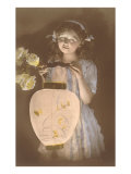 Young Girl with Chinese Lantern Posters