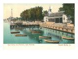 Docks and Pavilion, Lake Manawa, Iowa Prints